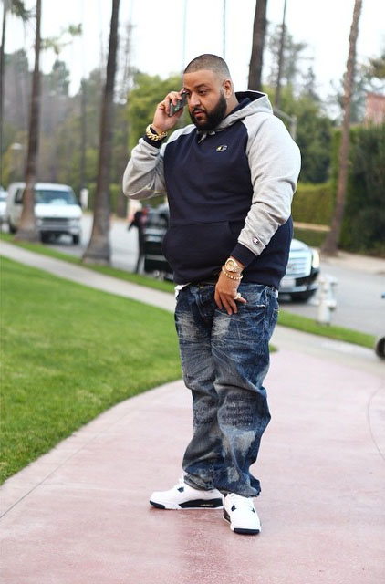 DJ Khaled wearing Air Jordan IV 4 Legend Blue