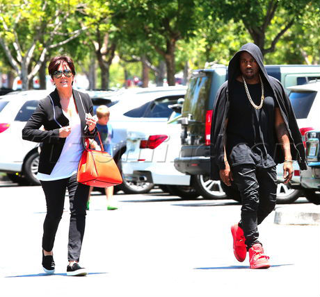 Kanye West Wears All-Red Nike Air Yeezy 2 (2)