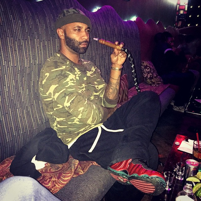 Joe Budden wearing Nike Air Foamposite One Metallic Red
