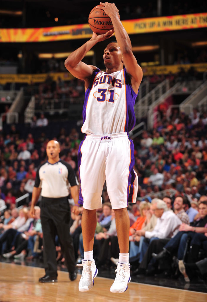 Sebastian Telfair wearing adidas adizero Crazy Light 2 White Purple