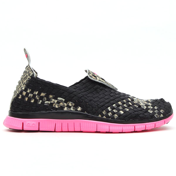 atmos x Nike Free Woven 4.0 QS in leopard and desert camo profile