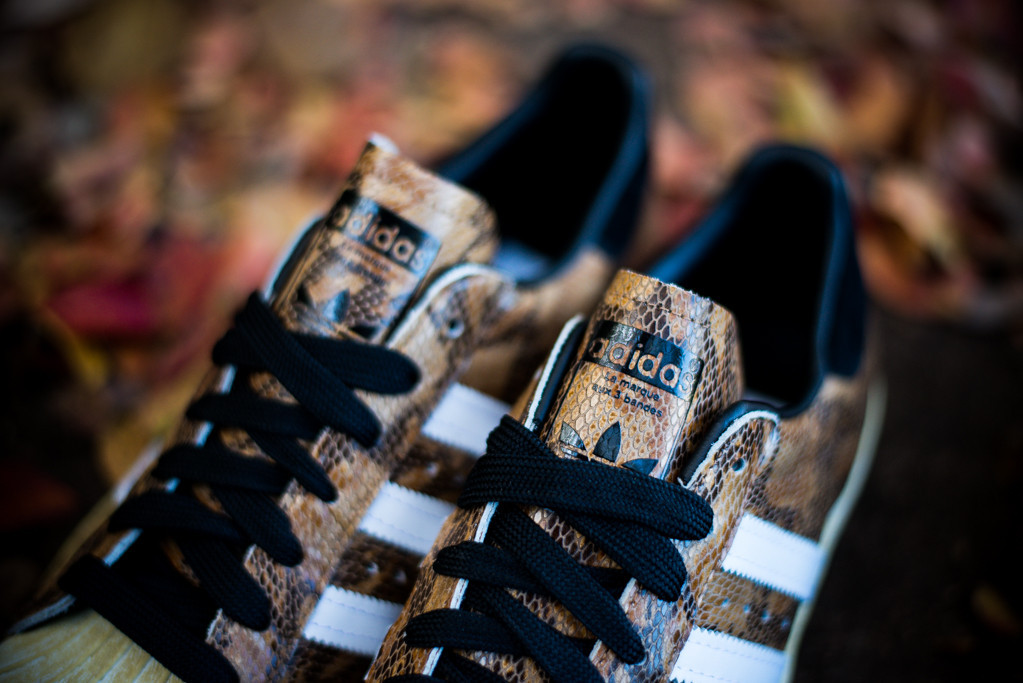 adidas Originals Superstar 80s Brown Snakeskin tongue detail