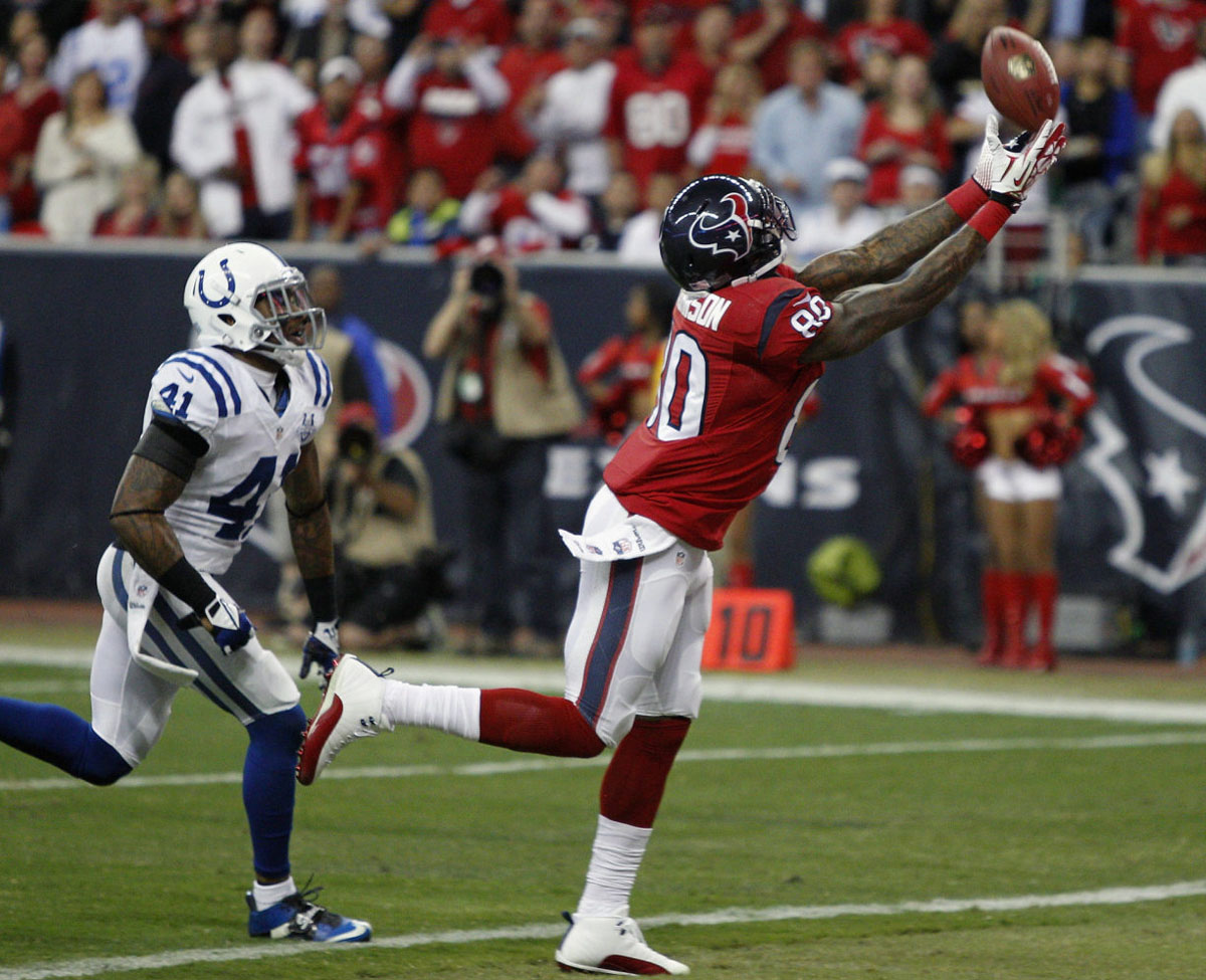 Andre Johnson Wearing Air Jordan 12 XII White/Red PE Cleats (5)