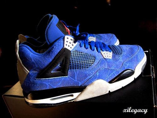 d1b086d5b8d509 Covered in premium blue suede and the Jordan Brand s usual laser print