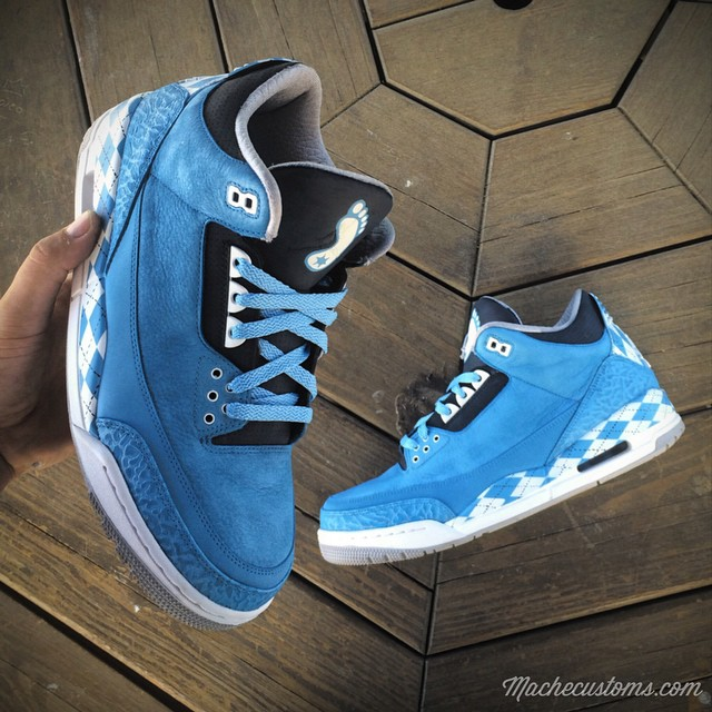 Air Jordan III 3 North Carolina Tar Heels Custom by Mache
