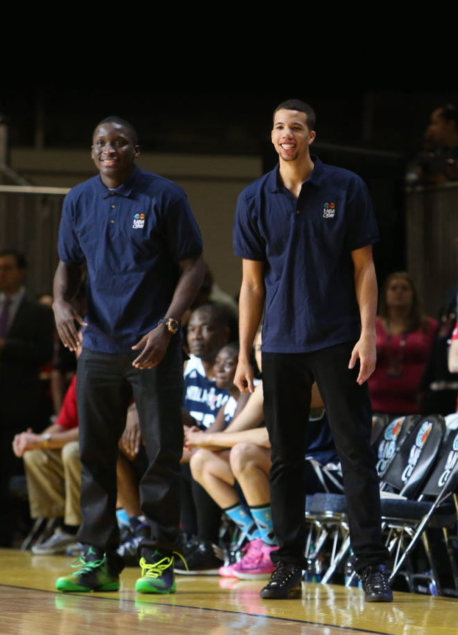 Victor Oladipo wearing Air Jordan XX8 SE; Michael Carter-Williams wearing Balenciaga Arena