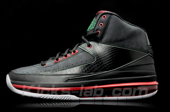 air jordan 2 black red green