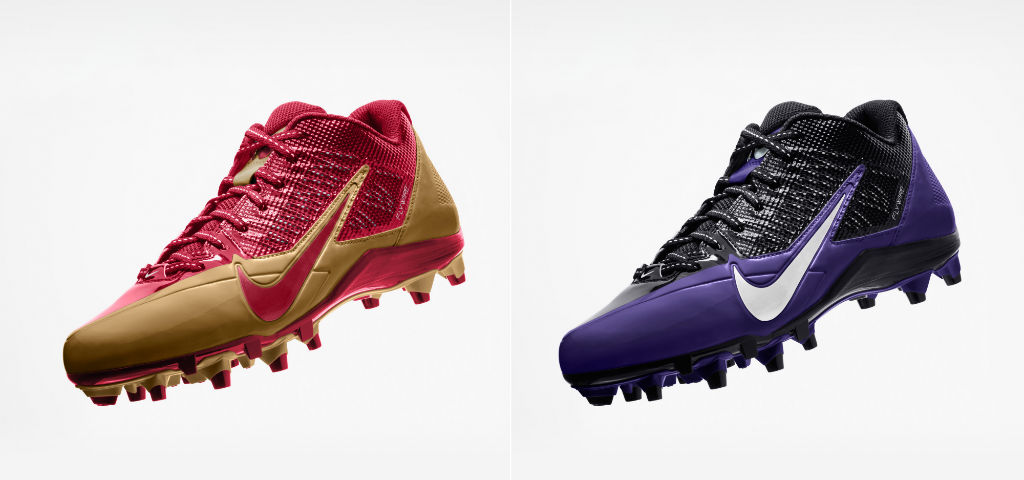 Nike Alpha Pro Cleats Super Bowl XLVII for Baltimore Ravens & San Francisco 49ers