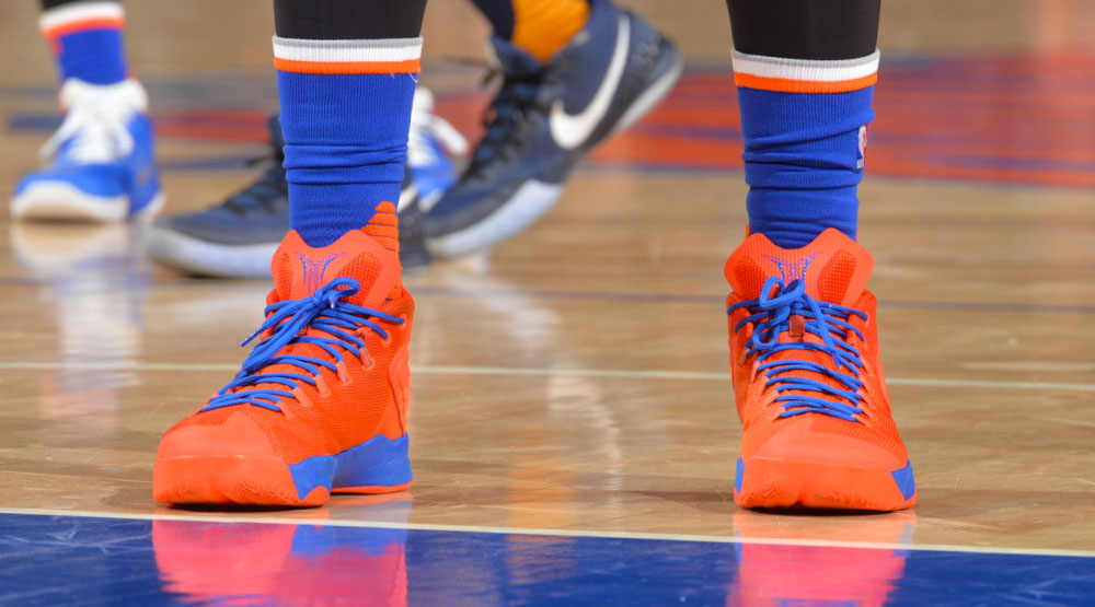 Carmelo Anthony Wearing a 'Knicks' Jordan Melo M12 PE (1)