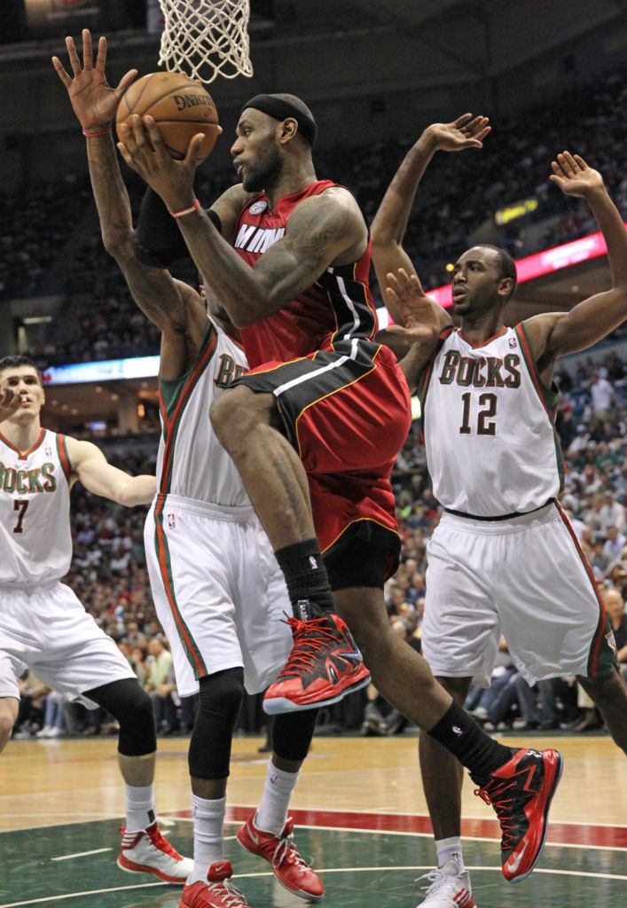 LeBron James wearing Nike LeBron X PS Elite Red Black PE (5)