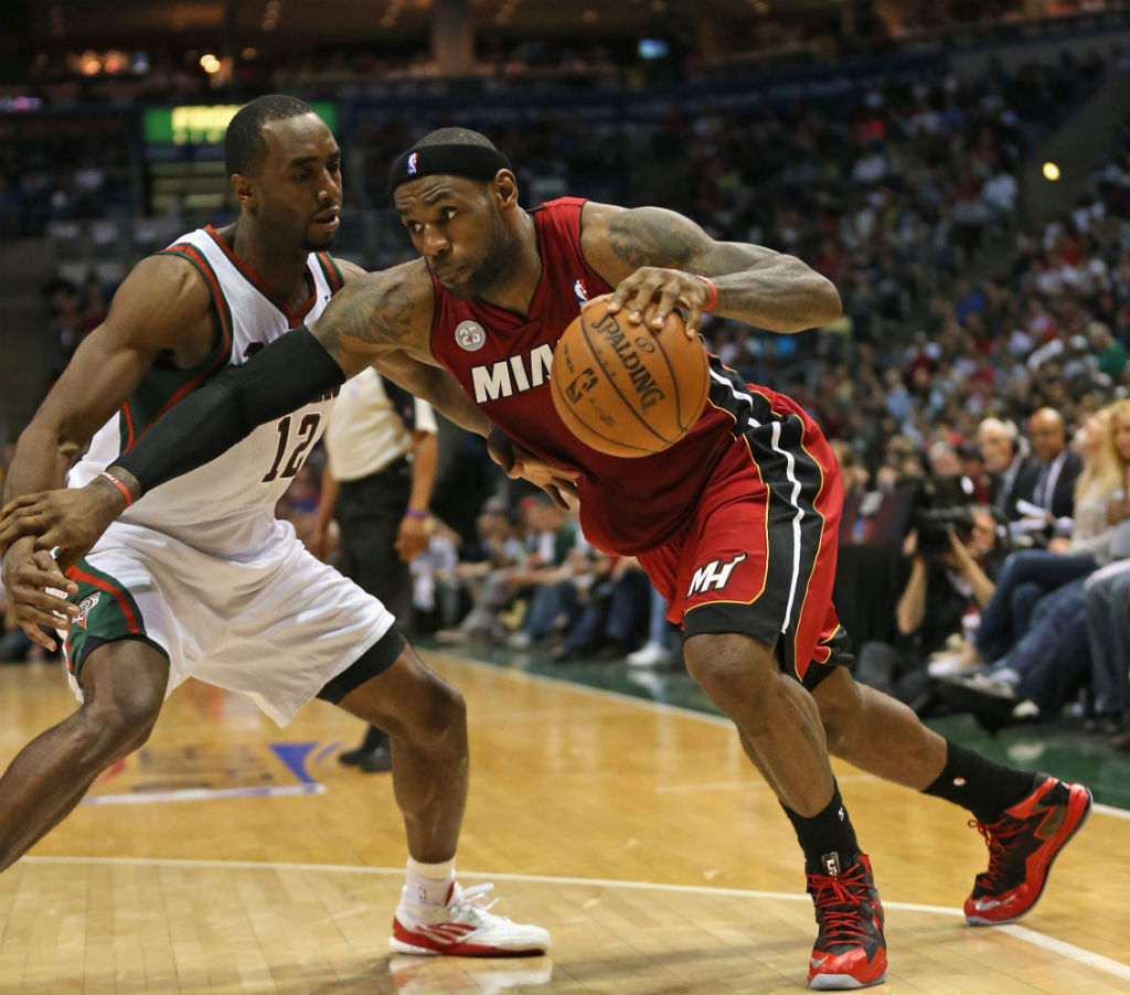 LeBron James wearing Nike LeBron X PS Elite Red Black PE (4)