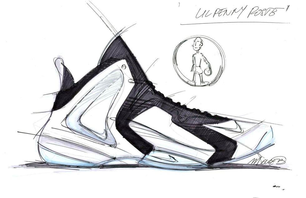 Sneaker Sketch of the Week // Marc Dolce's Nike Lil Penny Posite. Check out  NSW Design ...