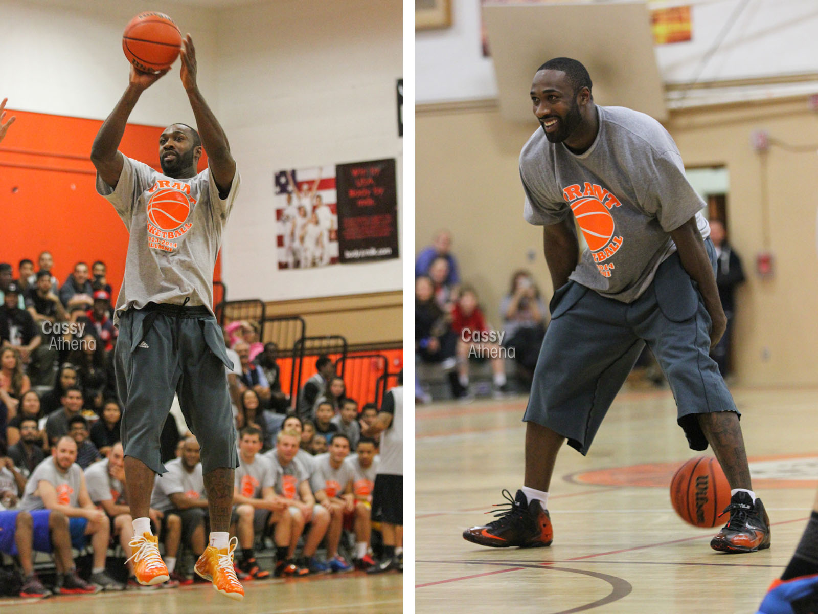 Gilbert Arenas wearing Custom Nike Foamposite and LeBron 11 for Grant High