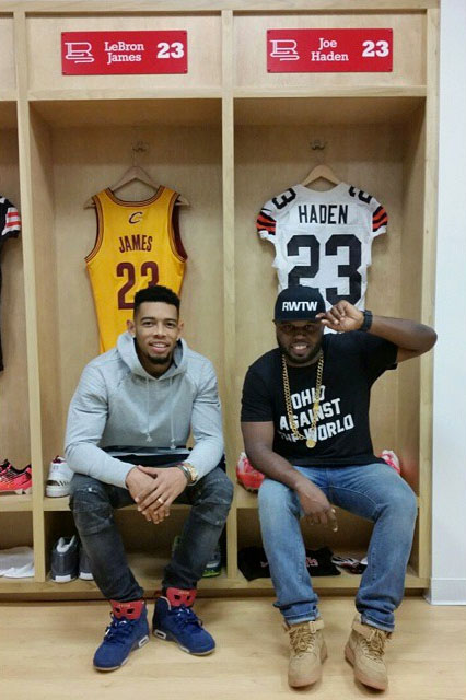Joe Haden wearing Air Jordan VI 6 Doernbecher; DJ Steph Floss wearing Nike Air Force 1 Mid Wheat