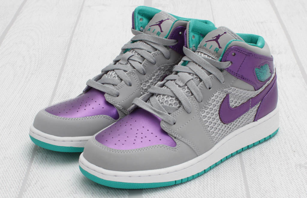 Air Jordan 1 Phat GS Wolf Grey Ultraviolet Green 364781-016 (3)