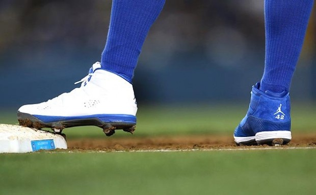 hot sales bf249 2c116 Dodgers outfield Carl Crawford celebrated 2013 s Jackie Robinson Day in  style, taking the field in a mismatched pair of Jordan Six Rings