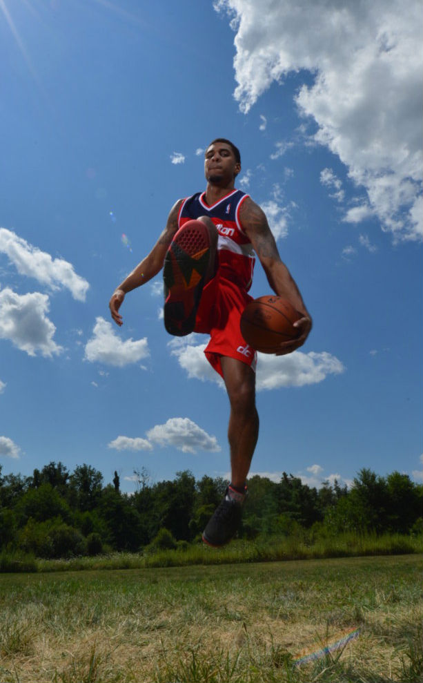 Glen Rice Jr. wearing Air Jordan VII 7 Retro Black Red