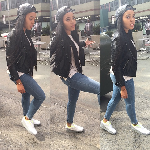 2fc42d1af4e8b3 Angela Simmons wearing the Sacai x Nike Air Max 90