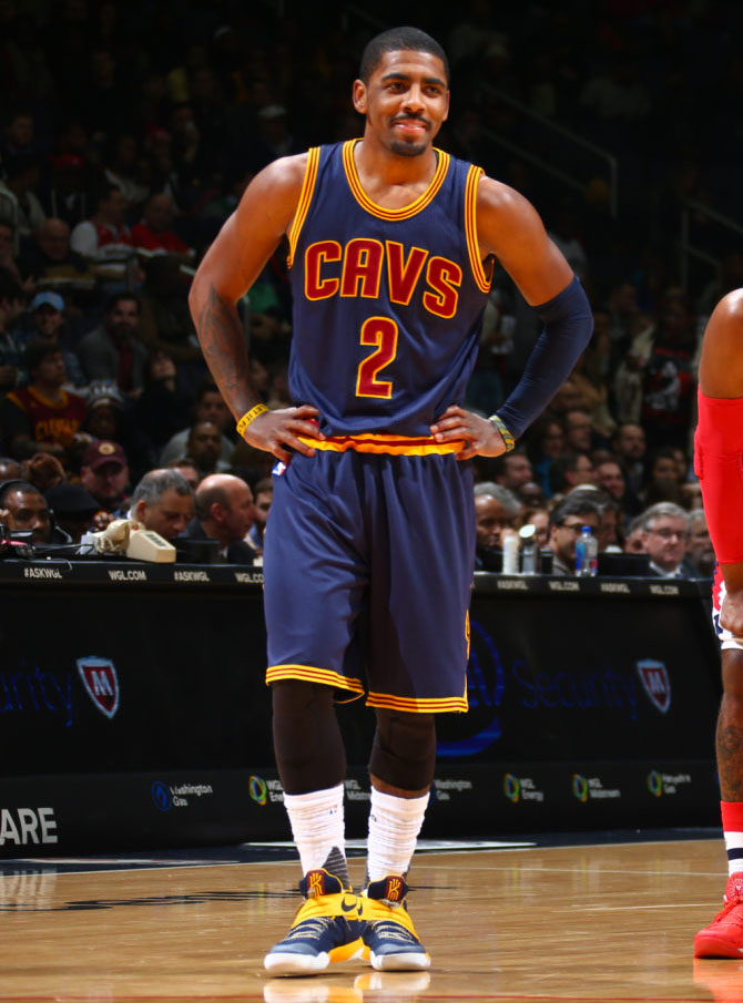 Kyrie Irving wearing a Navy/Yellow Nike Kyrie 2 PE (4)