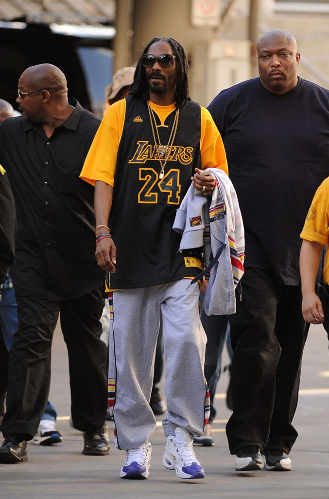Snoop Dogg wearing Packer Shoes x Reebok Question Kobe