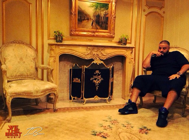 DJ Khaled wearing Air Jordan V 5 Black Grape