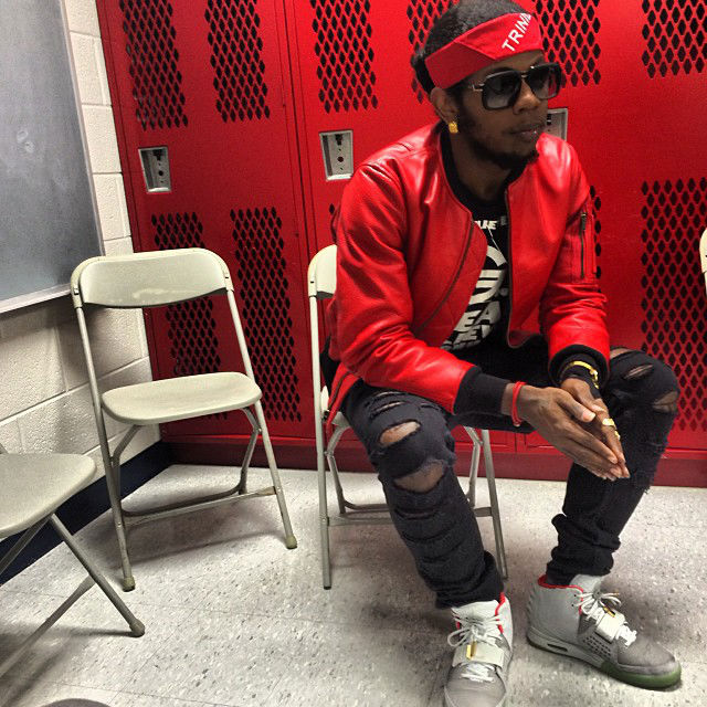 Trinidad James wearing Nike Air Yeezy 2 Platinum