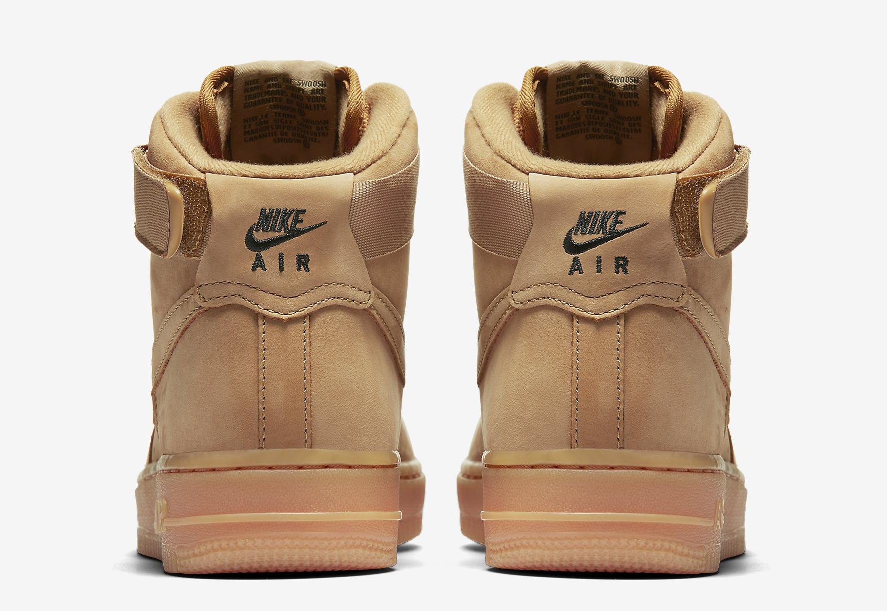 Image via Nike Wheat Nike Air Force 1 654440-200 Heel 19d51ddfd