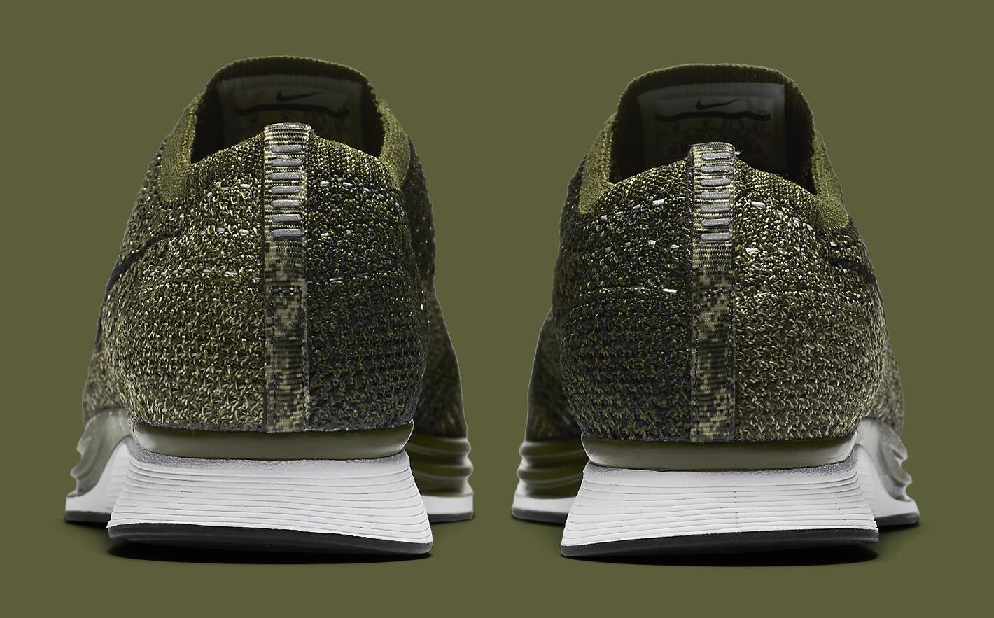 Nike Flyknit Racer Green Camo 862713-300 Heel