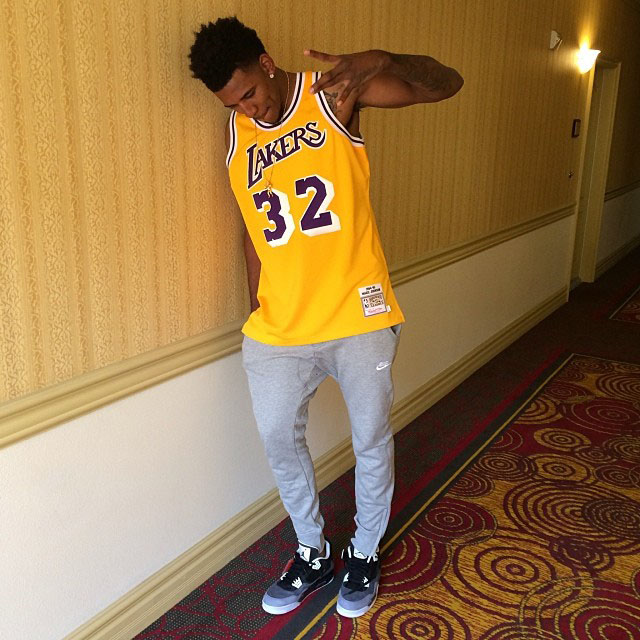 Nick Young wearing Air Jordan 4 Retro Fear