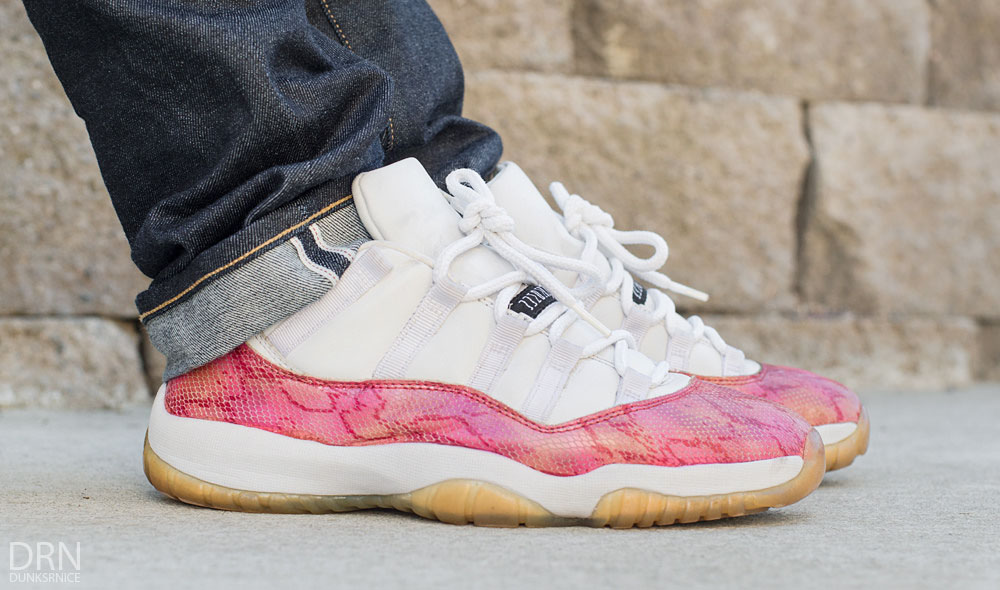 meet 7352a 8835e dunksrnice wearing the  Pink Snakeskin  Air Jordan XI 11 Low