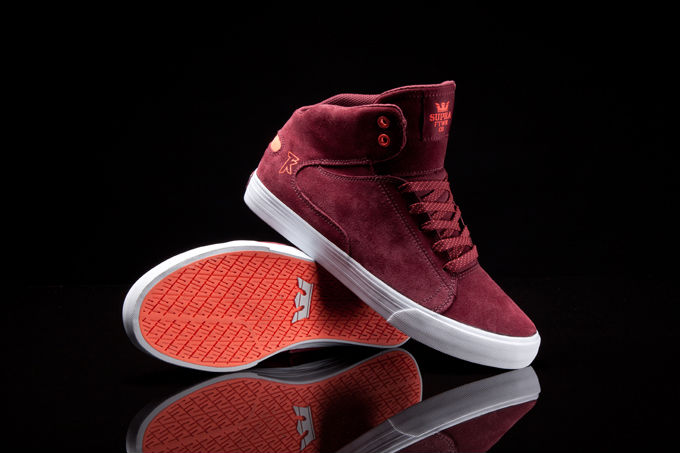 Supra Society Mid Burgundy Suede Orange (1)