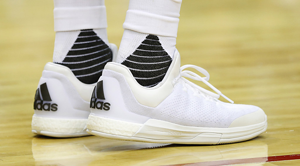 458bb2b787f SoleWatch  James Harden Laces Up All-White Boosts In Second adidas ...