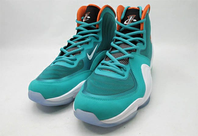 new styles 7cf24 af8ee Nike Air Penny V Miami Dolphins New Green White Safety Orange 537331-300 (6