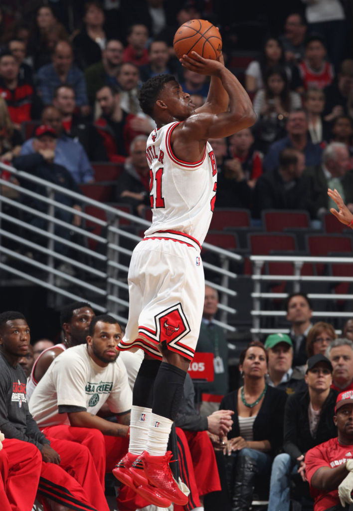 Jimmy Butler wearing adidas Rose 773 Light