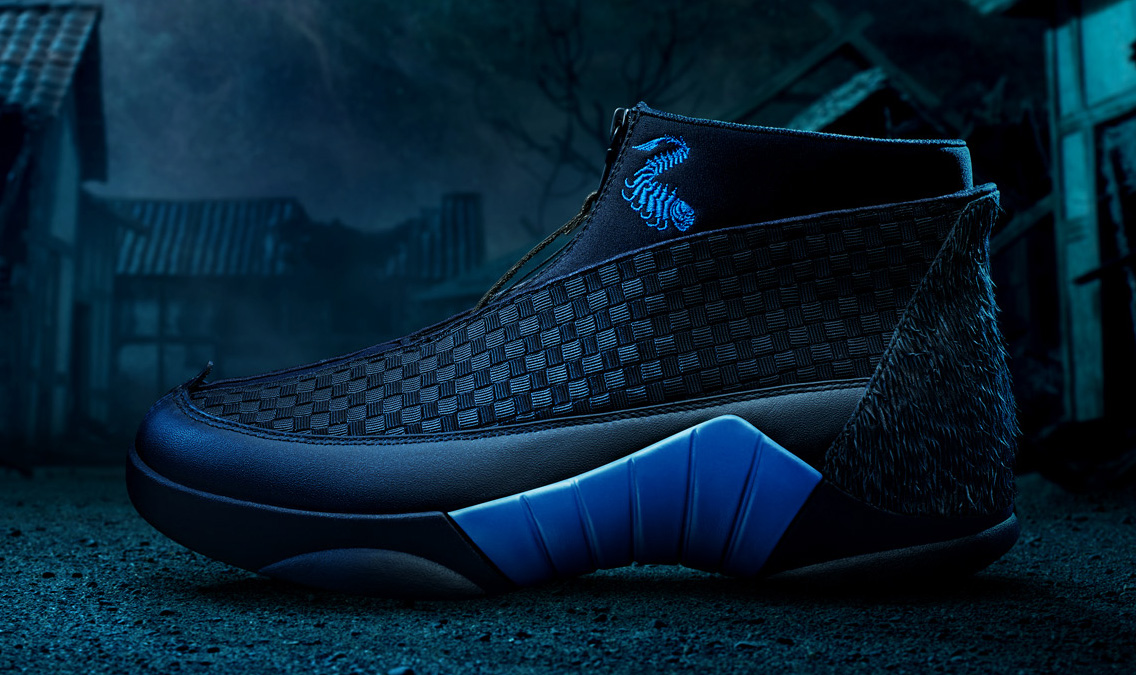 Side view of the blue Kubo Air Jordan 15