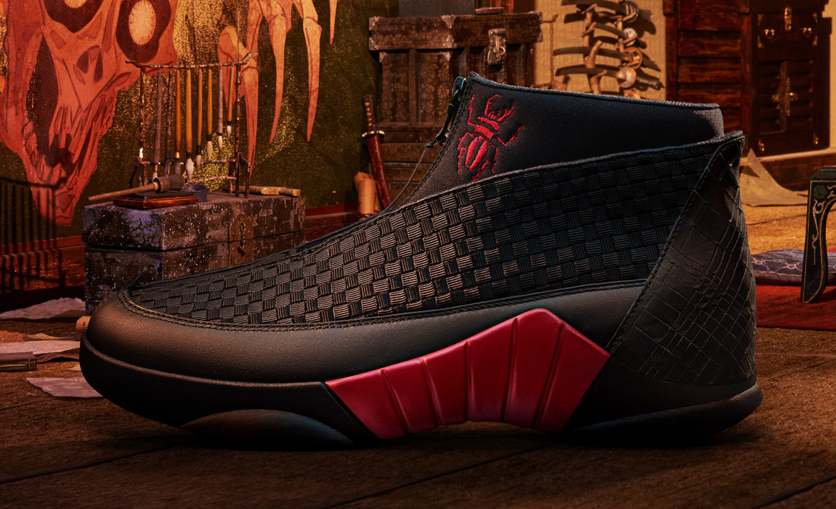 Side view of the red Kubo Air Jordan 15