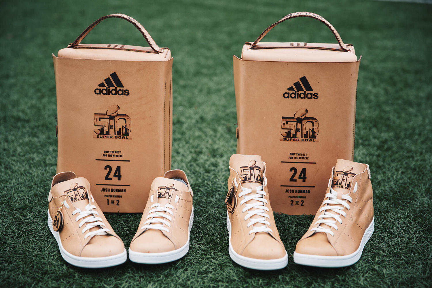 adidas athletes get custom super bowl stan smiths sole collector. Black Bedroom Furniture Sets. Home Design Ideas