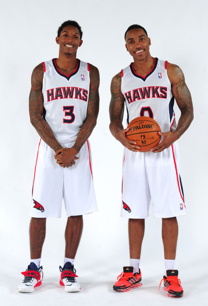 Lou Williams wearing Nike Zoom Soldier VII; Jeff Teague wearing adidas Springblade