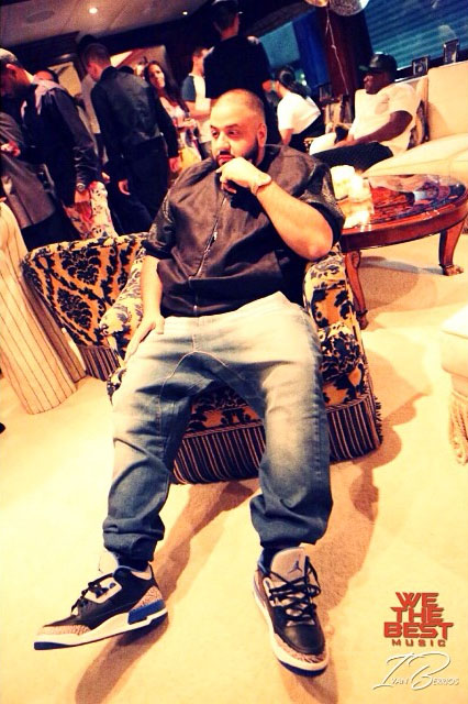 DJ Khaled wearing Air Jordan III 3 Sport Blue