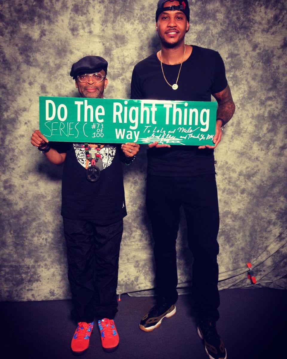 a529675b4d8f Spike Lee wearing the  Knicks  Air Jordan Spike 40  Carmelo Anthony wearing  the