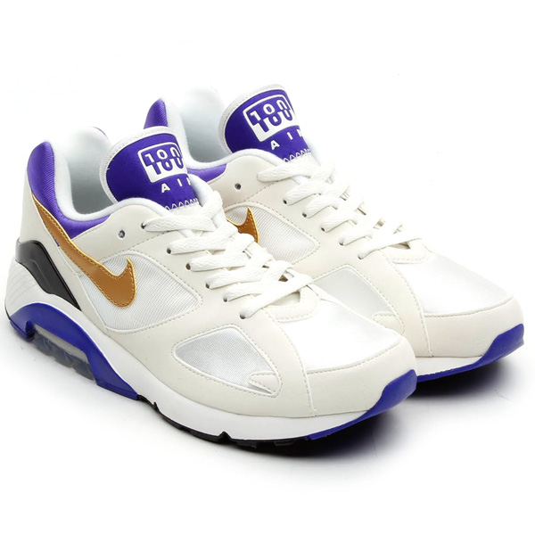 Nike Air 180 in White Metallic Gold and Bright Concord