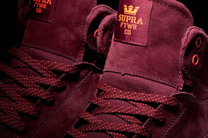 Supra Society Mid Burgundy Suede Orange (4)