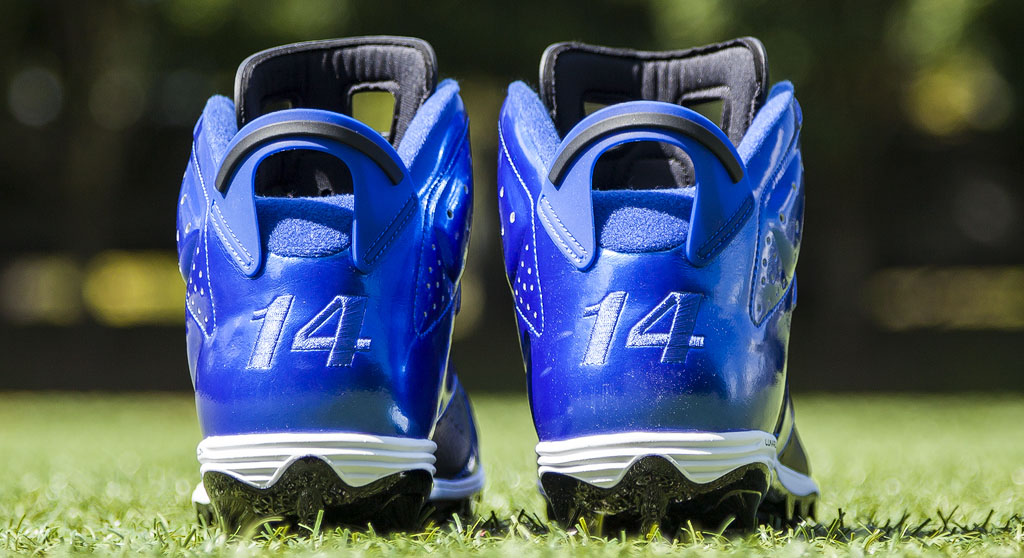 Hakeem Nicks' Air Jordan VI 6 Colts PE Cleats (2)