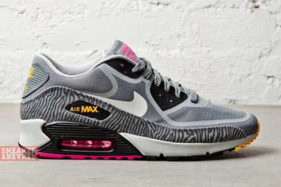 Wmns Nike Air Max 90 PRM Tape Grey Zebra Yellow Pink