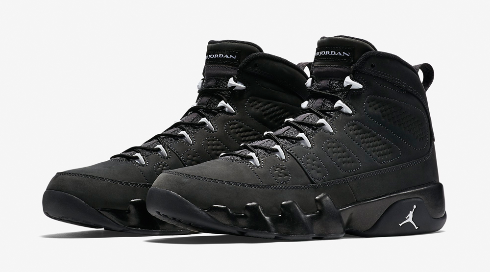 black and grey jordan 9