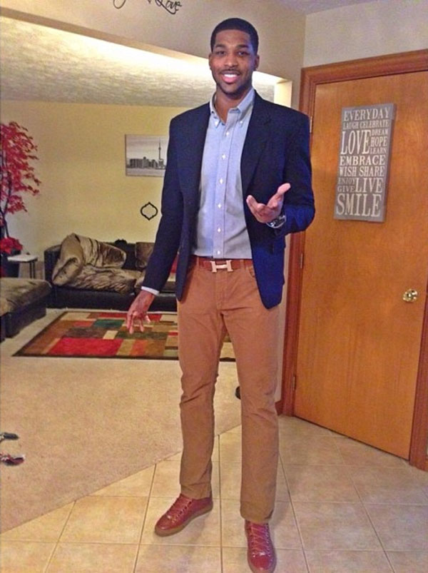 Tristan Thompson wearing Balenciaga Arena Brown