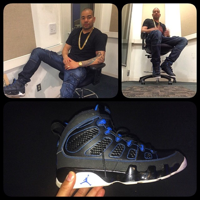 DJ Envy wearing Air Jordan IX 9 Photo Blue