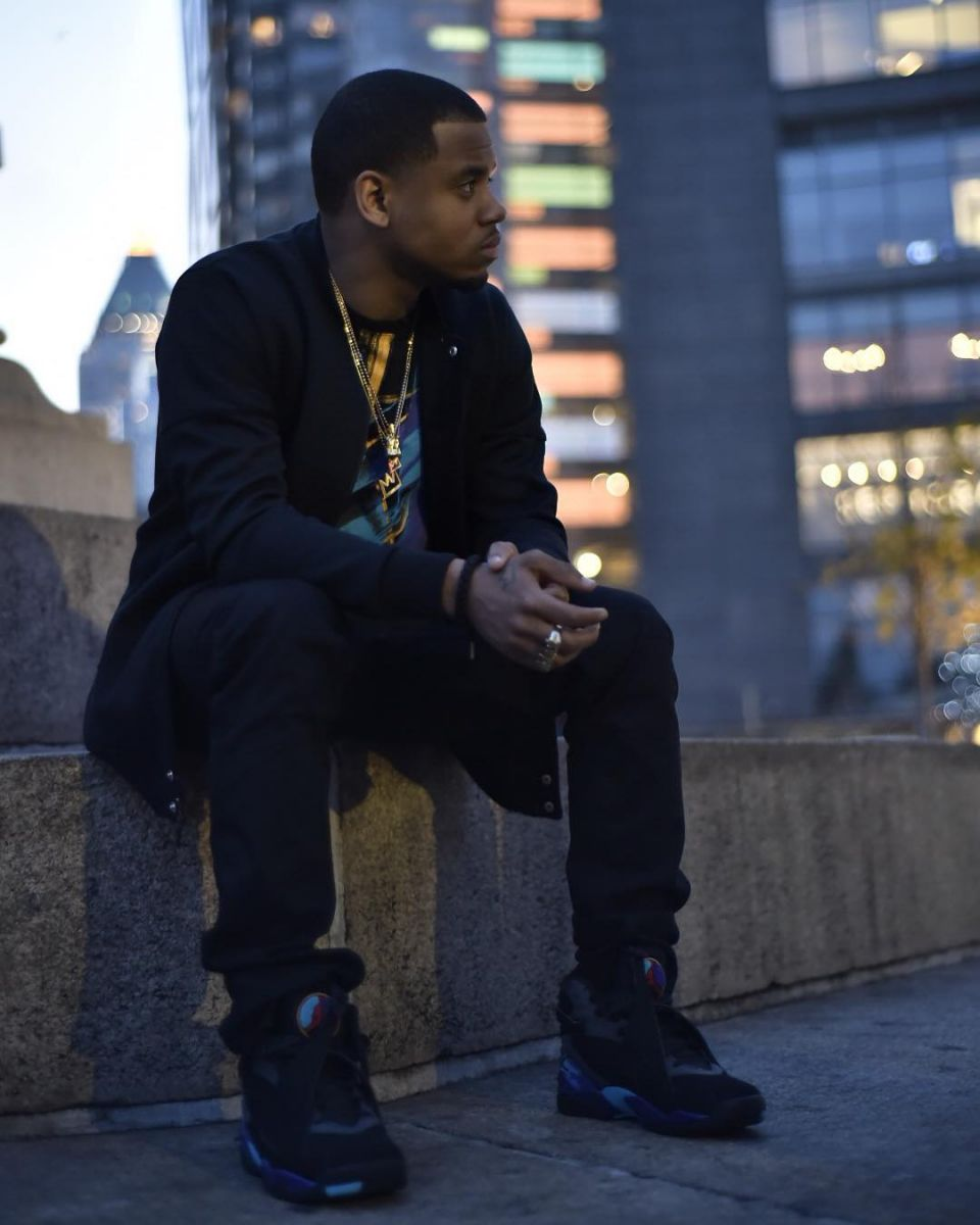 5fcddb55fa6294 Mack Wilds wearing the  Aqua  Air Jordan 8