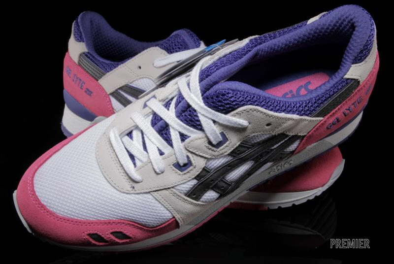 asics gel lyte III pink white purple tongue