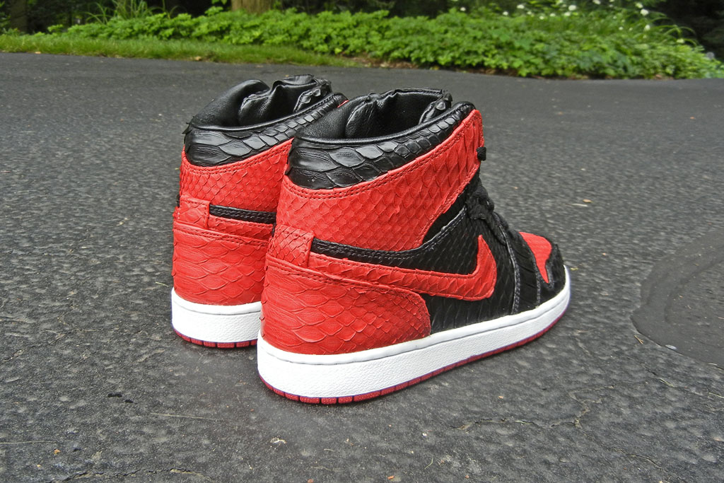 Air Jordan 1 'Bred' Python by JBF Customs (2)